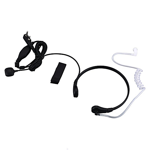 Throat Mic Covert Acoustic Tube Earpiece for Kenwood Radios 2 PIN Walkie black