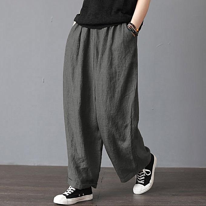dfa6ac68b88 ZANZEA Womens Oversize Harem Pants Wide Legs Casual Pants Elastic Waist  Trousers