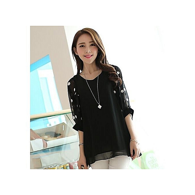 25bbd6fcaa3df BlueLife Loose Chiffon Blouse Half Sleeve Dots Printed Casual Shirt ...