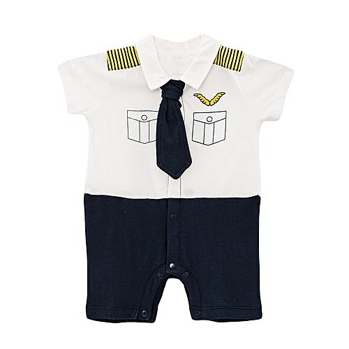 Cute Baby  smart short Sleeve Boys Romper with a tie + a FREE pair of socks.