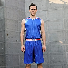 Newest Fashion Men's Top Quality Basketball Team Training Sports Shirts Shorts Jersey Set-Blue