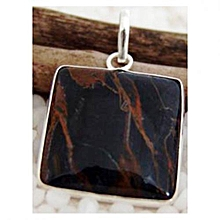Black Agate with Brown Crazy Lace Semi Precious Gemstone in 925' Sterling Silver Pendant
