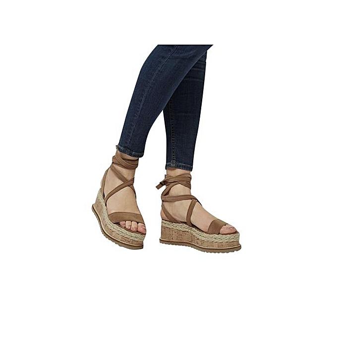 5c9dec08a6c3 Jiahsyc Store Ladies Women Roman Shoes Platform Woven Thick-Bottom  Waterproof Wedge Sandals -Brown