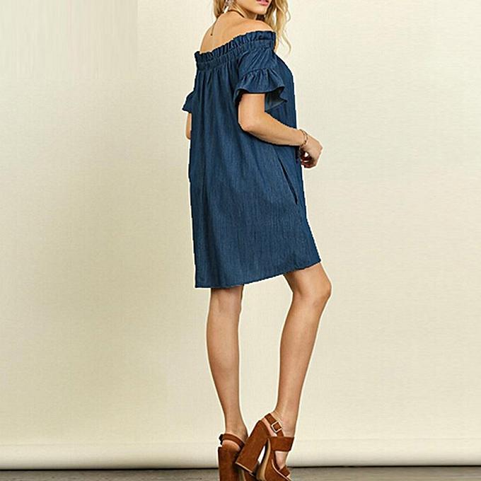 Xiuxingzi Plus Size Womens Off The Shoulder Bardot Denim Look Shirt Dress  Tops f3001e642f