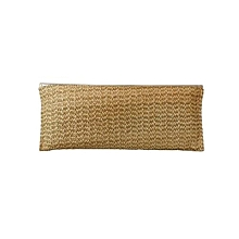 Gold Touch Jute Clutch with 8 Stone Brooch - Gold