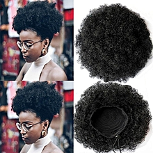 Women Fluffy Messy Curly Synthetic Hair Chignons Bun Wig - Black