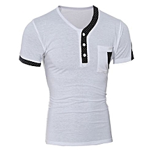 New Fashion Men Slim Fit Print V-Neck Short Sleeve Casual T-Shirt Tops WH/XXL