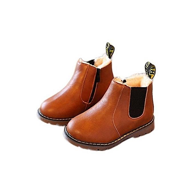 fca6e3baccef09 bluerdream-Kids Boys Girls Winter Snow Warm Ankle Boots Zipper Child  Chelsea Shoes -As