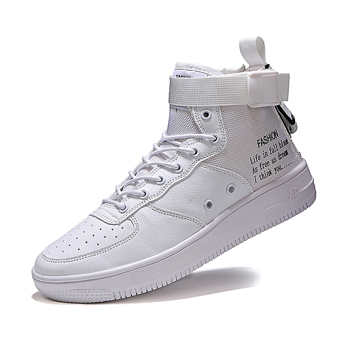 sale retailer ec3f2 6675b Unisex Sneakers AF1 New High Top Canvas Casual Shoes White