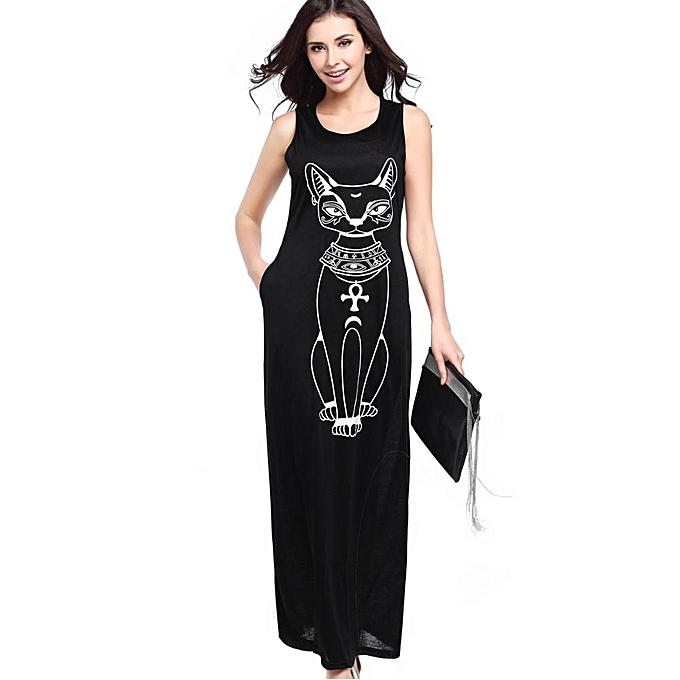 67b75b7d8484 Summer Beach Long Dress Women Cat Print Maxi Dresses Casual Red Black Grey Ladies  Plus Size