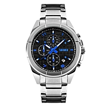 9109 Man Luxury Analog Quartz Watch full steel Wristwatch Men Waterproof Fashion Casual Sport Watches - Silver Black