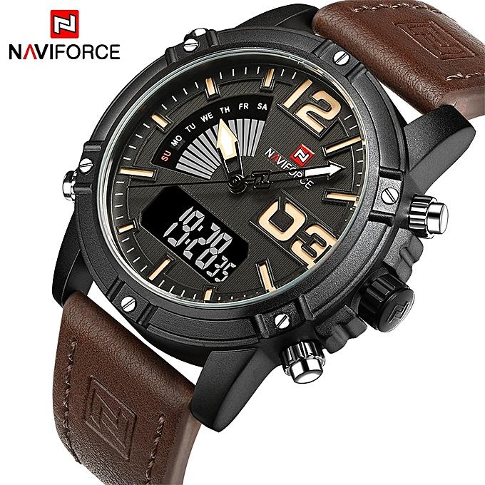 fb71bd61e NAVIFORCE Luxury Sport Leather Mens' Wristwatch - Dark Brown @ Best ...