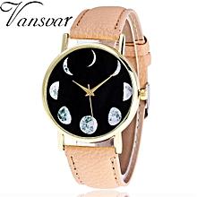 Vansvar Africashop Watch  Watch Moon Pattern Color Male And Female Strap Wrist Watch-Khaki