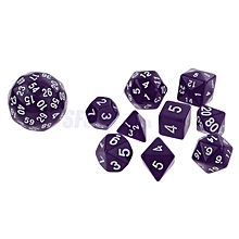 10Pcs Blue Multi Sided Dices Set for RPG Dungeons & Dragon Roleplay Game