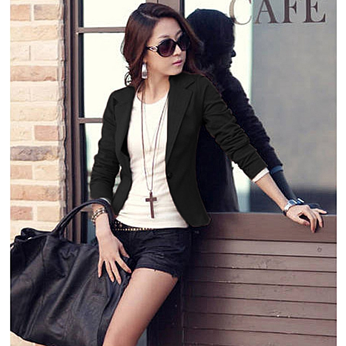 034278a8b74 Women One Button Business Blazer Suit Long Sleeves Office Casual Leisure  Coat Jacket Ladies Short Outwear