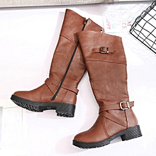 Women Leather Knight Buckle Ladies Faux Boots Flat Martin Shoes- Brown -CN SIZE