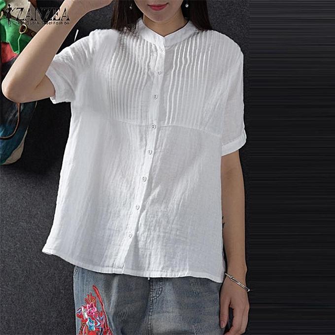 Buy Zanzea Zanzea Women Short Sleeve Cotton T Shirt Blouse Pleated