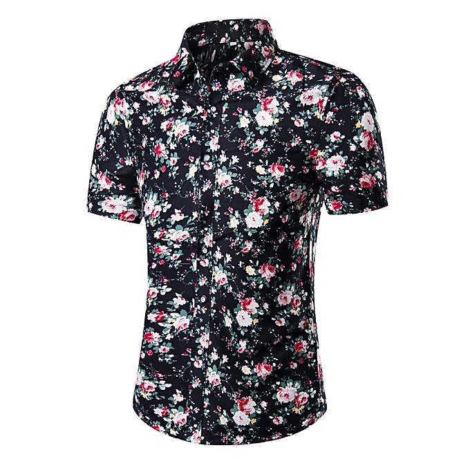 20ef80d536a0be Men's Fashionable Casual Floral Print Shirts Hawaiian Short Sleeve Printed  Shirts - Multicolour - XL