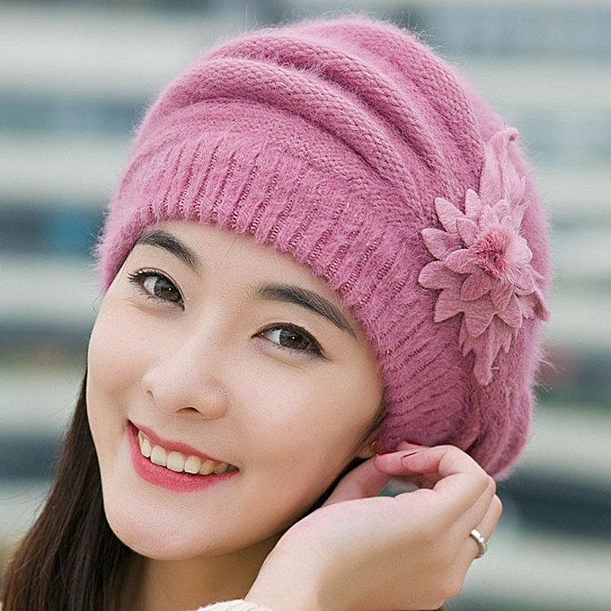 Generic Tectores Fashion Trend Fashion Womens Flower Knit Crochet Beanie Hat  Winter Warm Cap Beret Purple   Best Price  52f055c8c