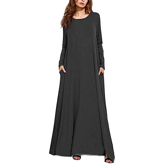 5751e8eba91 Fashion Women Long Sleeve Vintage Loose Abaya Kaftan Plus Size Maxi Long  Dress Tunic
