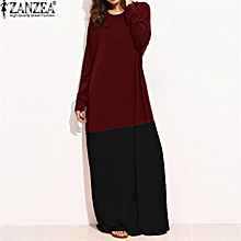 ZANZEA  Women Maxi Long Dress Color Splice Full Sleeve O-Neck Casual Loose Long Shirt Dress Elegant Ladies Vestidos S-5XL (RedBlack)