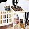 Kitchen Draining Water Chopsticks Spoon Storage Rack Cutlery Organizer Drainer Beige