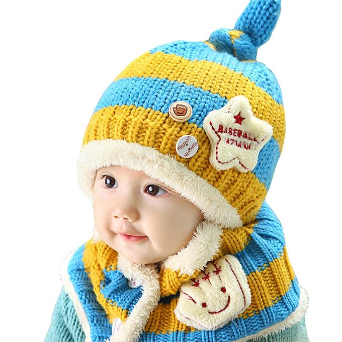 8ededd83bdf0d Cute Winter Baby Wool Hat Hooded Scarf Earflap Knit Cap Toddler YE-Yellow