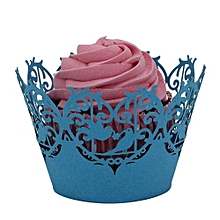 50pc Christmas Lace Laser Cut Cupcake Wrapper Liner Baking Cup Muffin  -Blue