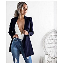Auxo Women Casual Slim Suit Stylish Style Blazer Coat Casual Office Jacket Outerwear Navy Blue