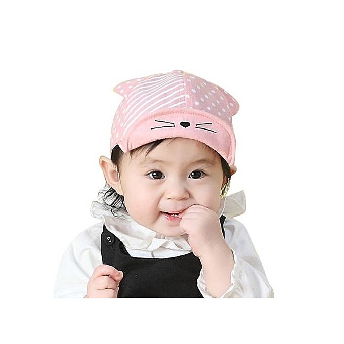 2dbe1864cdd Child Kid Baby Cats Striped Soft Brim Flanging Sun Hat Baseball Peaked Cap