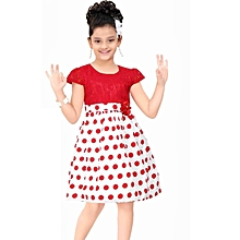 Red polka dot short - sleeved cotton dress with lace bodice