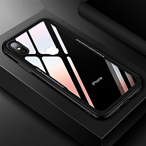 Luxury Imitation TPU + PC Transparent Glass Phone Case For Huawei P20 Lite  Shockproof Armor Resistant Coating For Huawei Nova 3E (Black)