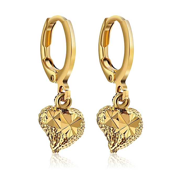 Cute Hearts 18k Electroplate Gold Color Earrings For Women