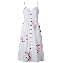 New Summer Women's Floral Print Sleeveless Shoulder-Straps Buttoned Backless Sexy Dress With 20 Colors Optional (Apricot)