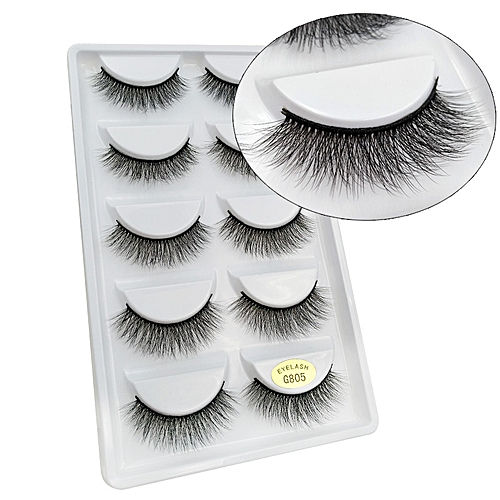 c1b8bcaf10c Generic SHIDISHANGPIN 5 pairs eyelashes 3d mink lashes natural long 1 box mink  eyelashes 1cm-1.5cm 3d false eyelashes full strip lashes(G805)