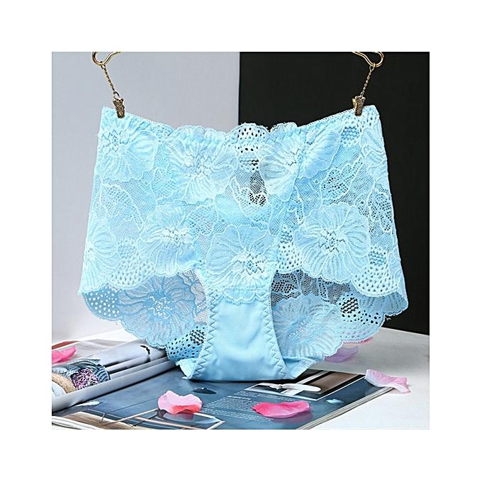 fc430f54cd20 Lace high waist underwear women's large size transparent ladies briefs  comfortable underwear-blue1