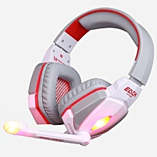 Headphone Gaming, G4000 Pro Gaming Headset Stereo Sound 2.2M Wired Headphone(White Red)