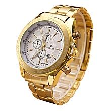 Men Stainless Steel Watch Analog Quartz Movement Wrist Watches Gold