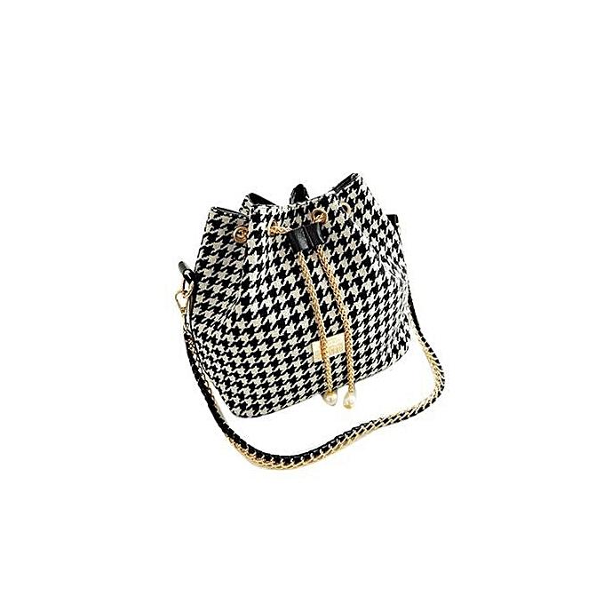 ab4c9a878b3 Plaid Handbag Chain Pearl Bucket Women Bag Shoulder Bags White Black - Intl