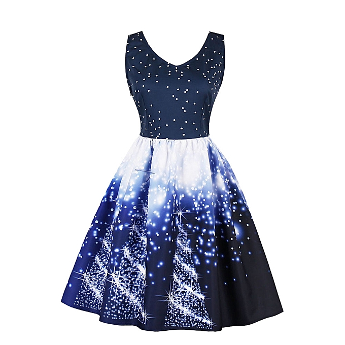 4379bb35b6d6 Plus Size Womens Santa Christmas Party Dress Vintage Xmas Swing Skater Dress