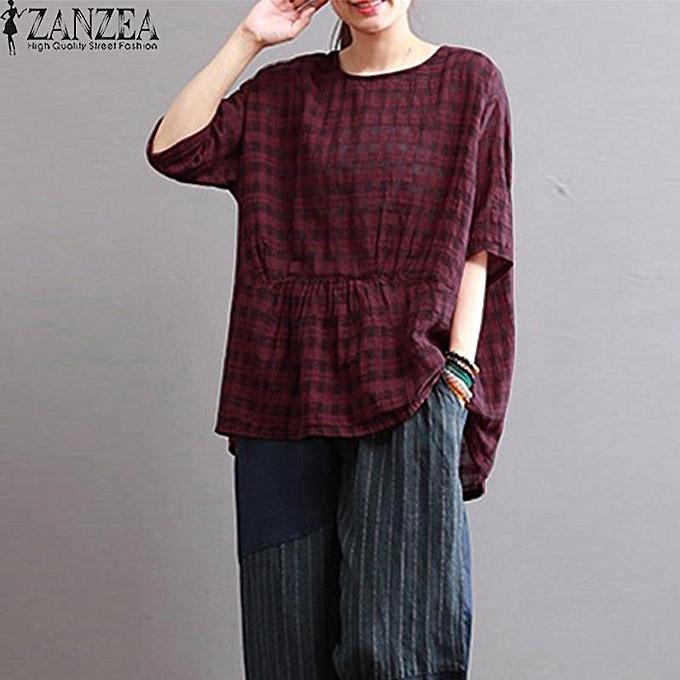 0a8180150f7 ZANZEA Women Plus Size Peplum Flare Loose Plaid Top T-Shirt Tunic Blouse