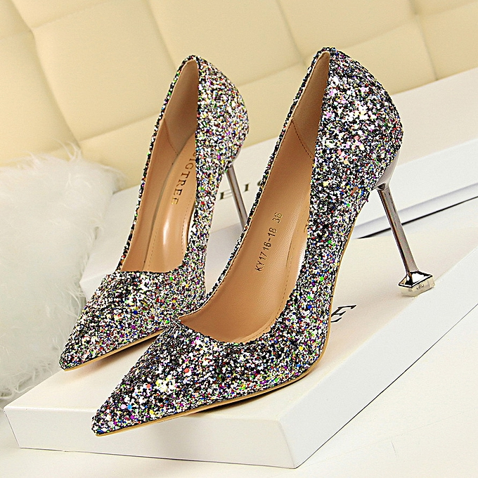 eef60d39d434 Women High-Heeled Shoes With High-Heeled Shallow Mouth Pointed Shiny Sparkle  Sequins Sexy