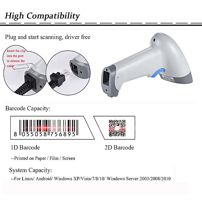 2D QR 1D USB Barcode Scanner CCD Red Light PDF417