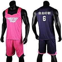 0ff7573b5 Double Side Men  039 s Customized Team Basketball Sport Jersey Uniform-Pink(