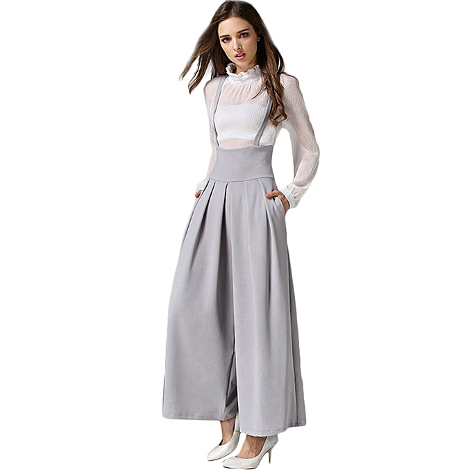 f23ebea86 jiuhap store Women Casual Pleated High Waisted Wide Leg Palazzo Pants  Suspenders Trousers -Beige