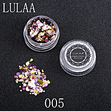 Shiny Round Sequins Colorful Nail Art Glitter Tips UV Gel 3D Nail Decoration -Multicolor