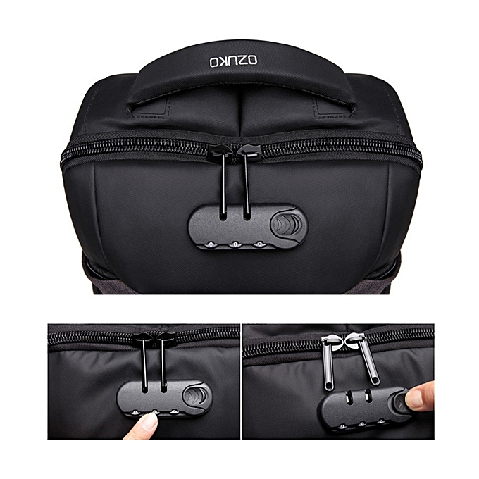 f0f838a92723 ... lock USB Charging Backpack Casual Anti-theft Computer Bag with Rainproof  Cover   Combination ...