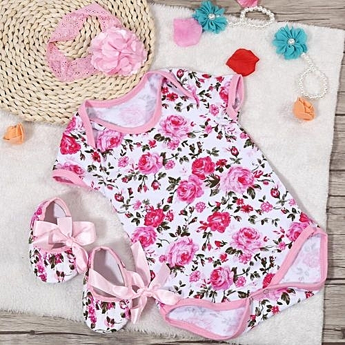 4d2a3bf04 3Pcs/Set Cotton Short Sleeve Baby Jumpsuit With Head Band And Shoes (Rose  Pattern M)