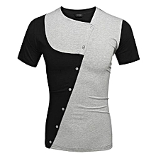 COOFANDY Men Fashion Casual Turn Down Collar Short Sleeve Slim Fit Contrast Color Polo Shirt T Shirt Tops ( Red )