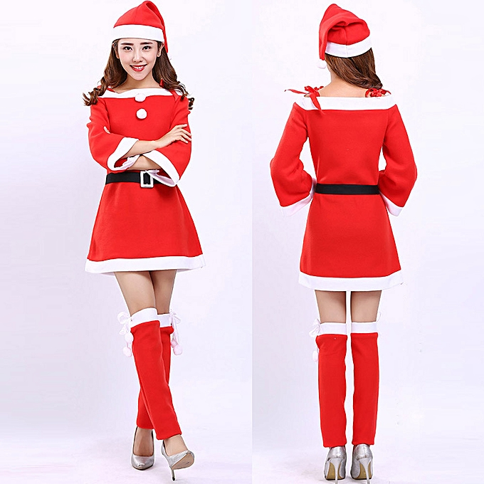 d56abc687993 Xingbiaocao Women Santa Claus Christmas Clothes Costume Party Cosplay  Outfit Fancy Dress Set -Red